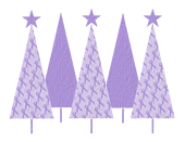 Christmas Trees Lavender Ribbon