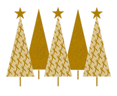 Christmas Trees Gold Ribbon
