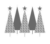 Christmas Trees Grey Ribbon