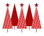 Christmas Trees Red Ribbon