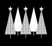Christmas Trees White Ribbon